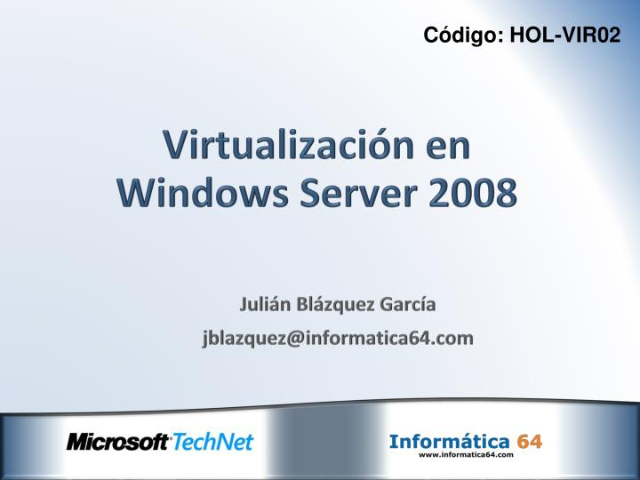 virtualizaci n en windows server 2008 n.