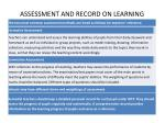 assessment and record on learning