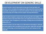 development on generic skills