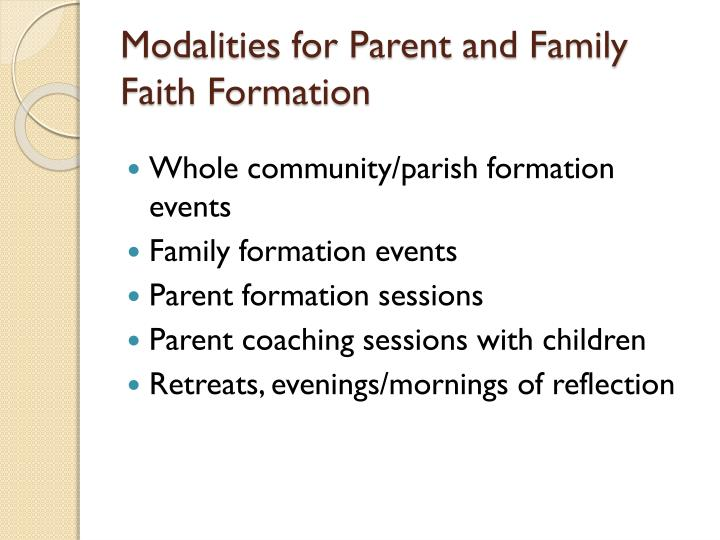 Modalities for Parent and Family Faith Formation