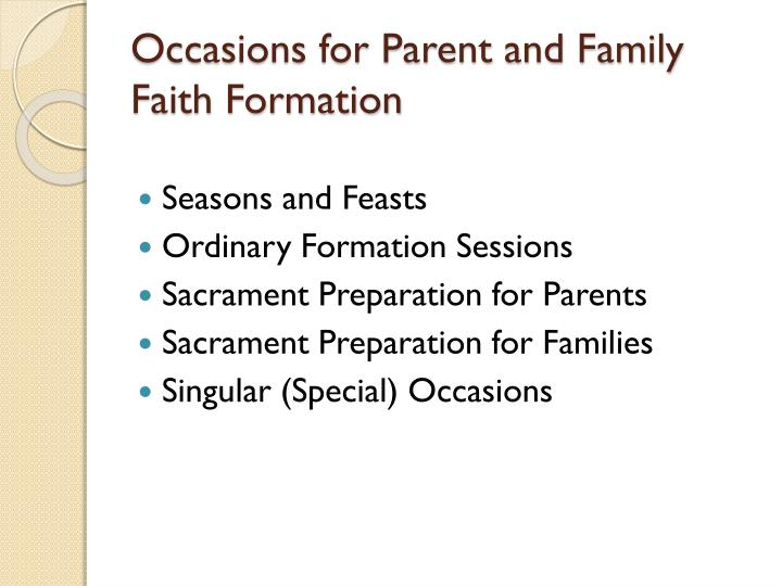 Occasions for Parent and Family Faith Formation