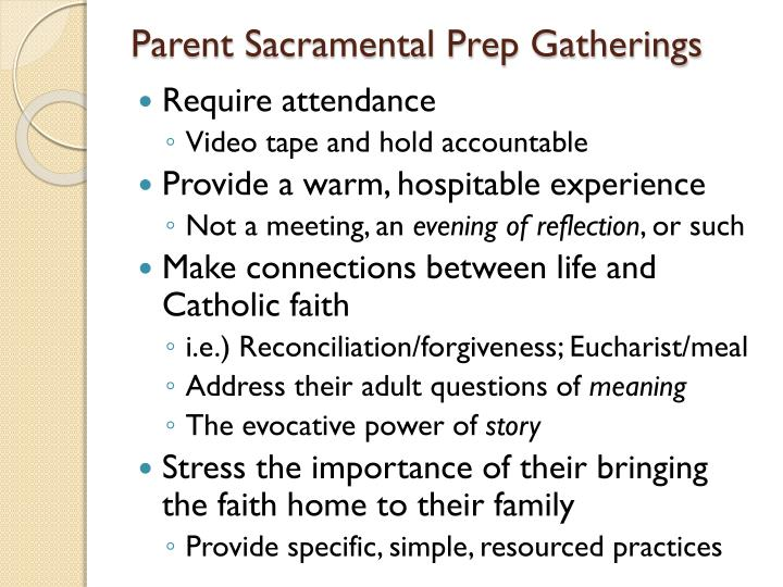Parent Sacramental Prep Gatherings