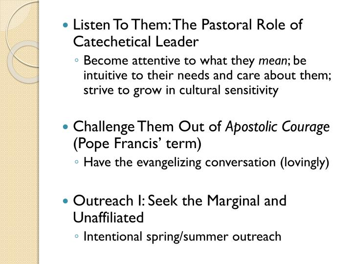 Listen To Them: The Pastoral Role of Catechetical Leader