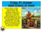 friday 4 th october saint francis of assisi