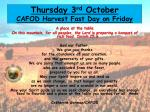 thurs day 3 rd october cafod harvest fast day on friday