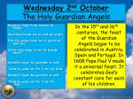 wedn esday 2 nd october the holy guardian angels
