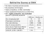 behind the scenes at swa