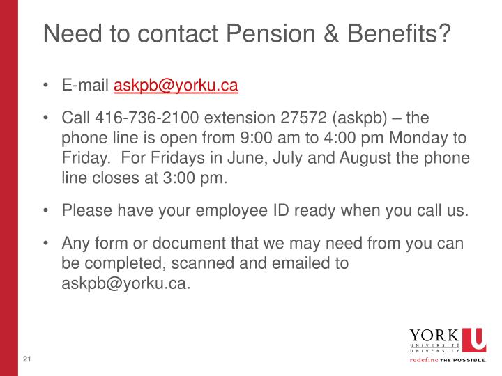 Need to contact Pension & Benefits?