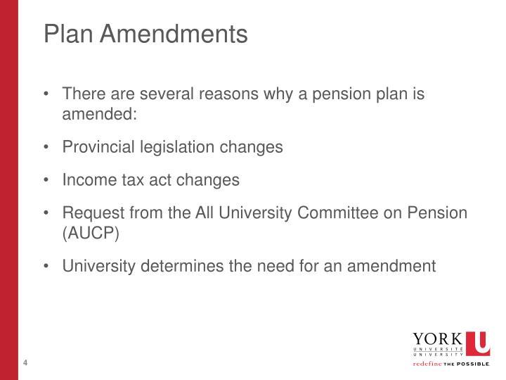 Plan Amendments