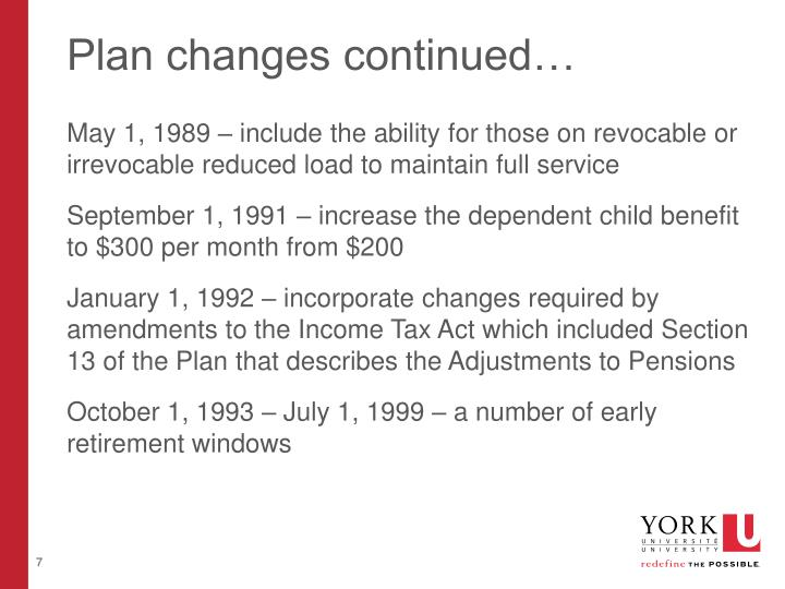 Plan changes continued…