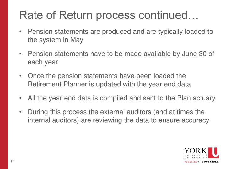 Rate of Return process continued…