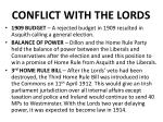 conflict with the lords