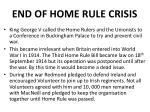 end of home rule crisis