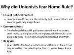 why did unionists fear home rule