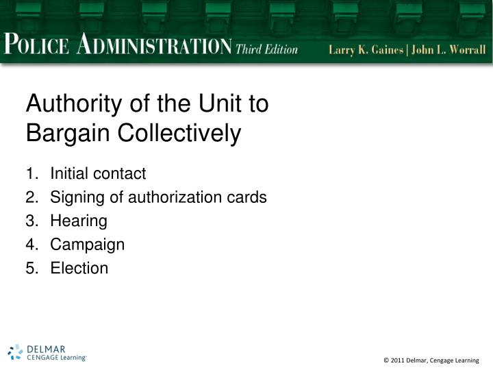 Authority of the Unit to