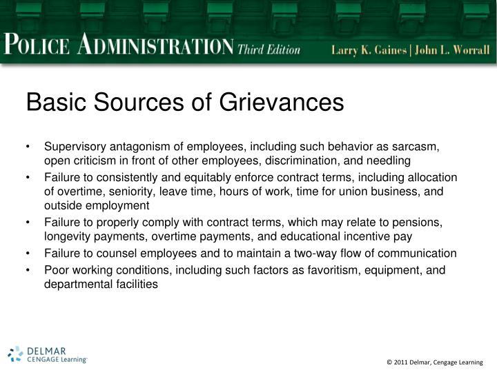 Basic Sources of Grievances
