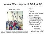 journal warm up for b 2 28 a 3 3