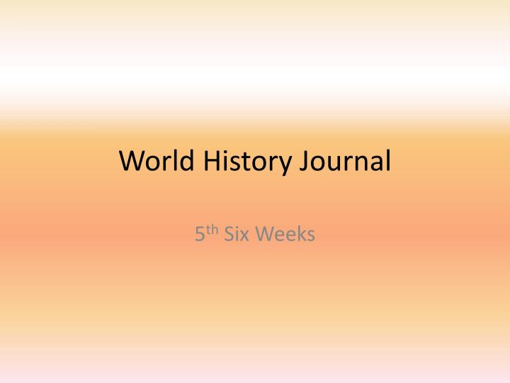 world history journal n.