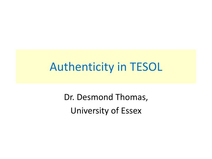 authenticity in tesol n.