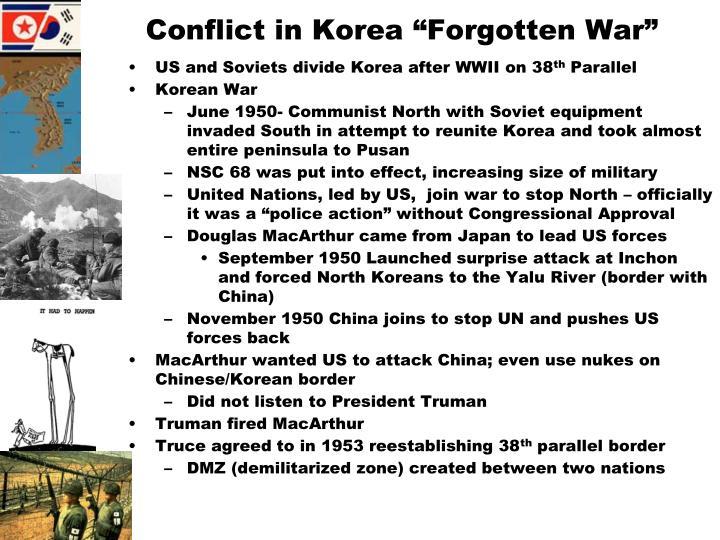 """Conflict in Korea """"Forgotten War"""""""