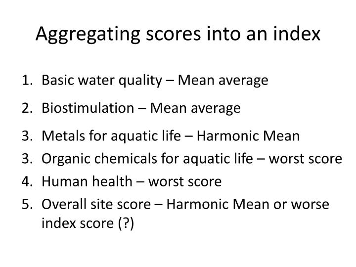 Aggregating scores into an index