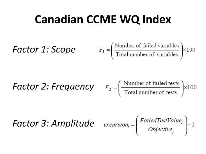 Canadian CCME WQ Index