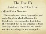 the five e s evidence the nt is true19