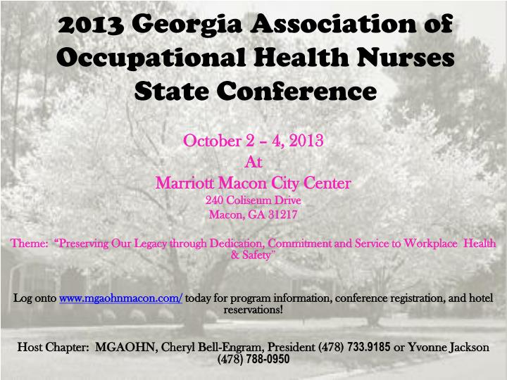 2013 georgia association of occupational health nurses state conference n.