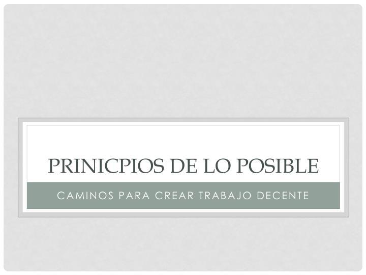 PRINICPIOS DE LO POSIBLE