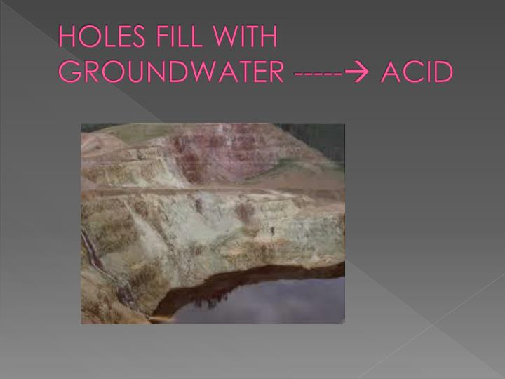 HOLES FILL WITH GROUNDWATER -----