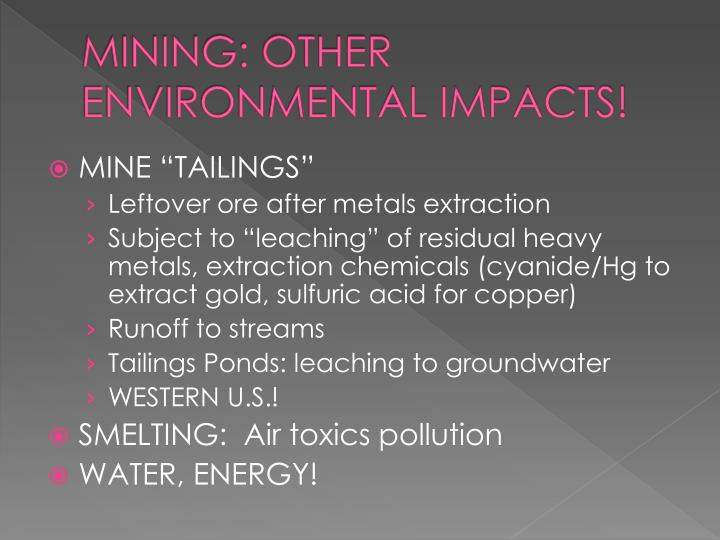 MINING: OTHER ENVIRONMENTAL IMPACTS!
