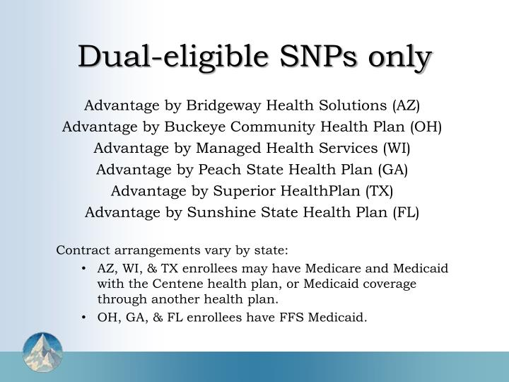 Dual eligible snps only