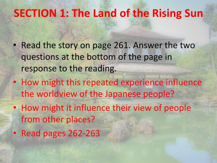 SECTION 1: The Land of the Rising Sun