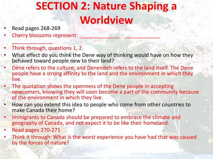 SECTION 2: Nature Shaping a Worldview