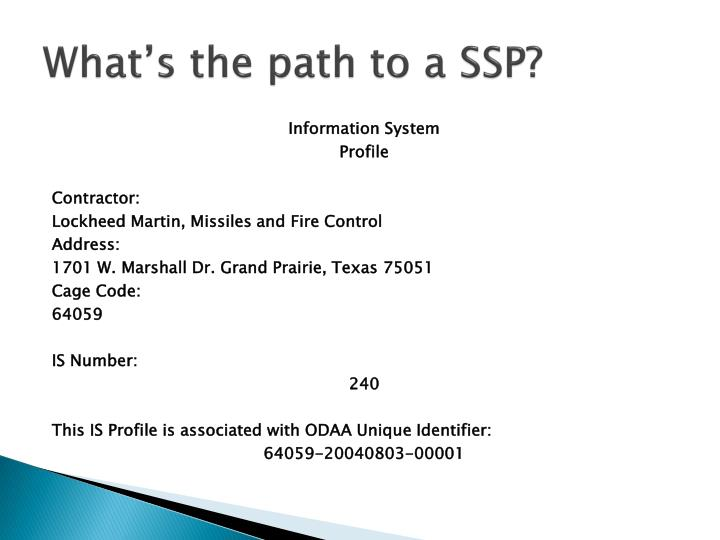 what s the path to a ssp n.