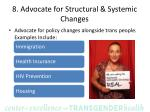 8 advocate for structural systemic changes