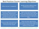 best practices course learning objectives