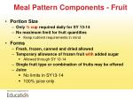 meal pattern components fruit