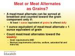 meat or meat alternates as grains