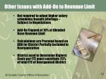 other issues with add on to revenue limit