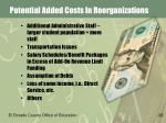 potential added costs in reorganizations