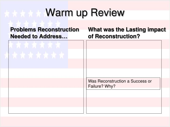 """a discussion on the reconstruction period a success or failure Reconstruction in public history and memory at the sesquicentennial: a roundtable discussion the period of reconstruction reconstruction a """"failure"""" is."""