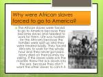 why were african slaves forced to go to america