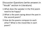 discussion questions write answers in vocab section in literature