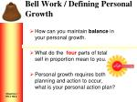 bell work defining personal growth