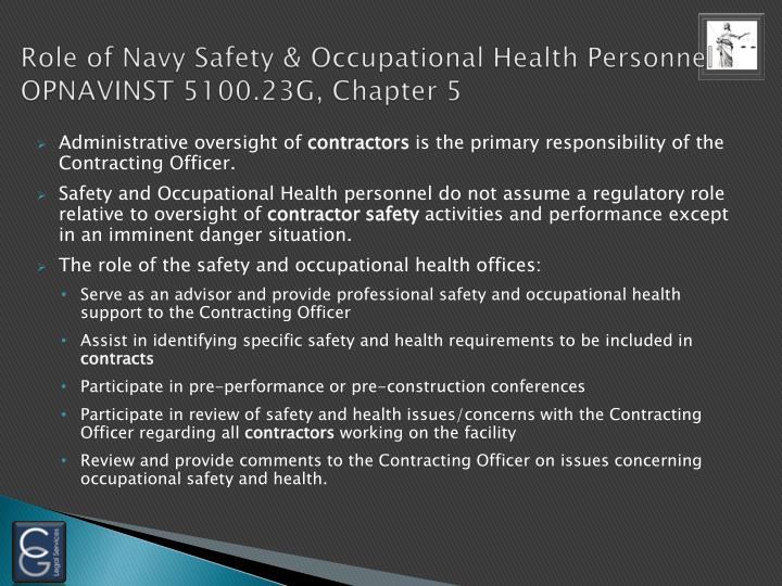 Role of Navy Safety & Occupational Health Personnel