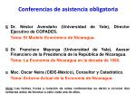 conferencias de asistencia obligatoria