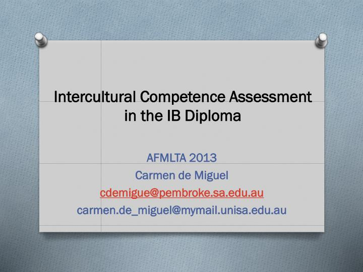intercultural competence assessment in the ib diploma n.