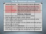 the wa assessment objectives