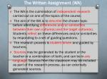 the written assignment wa